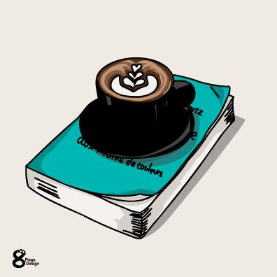 コーヒーと本(ブルー)のキャッチ画像
