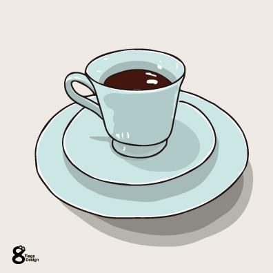コーヒーとカップアンドソーサー(アイスブルー)のキャッチ画像