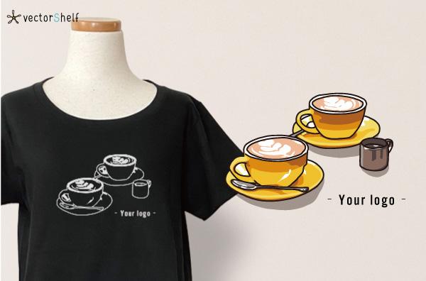 カフェラテカップ2個のTシャツキャッチ画像