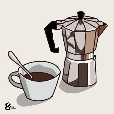 コーヒーメーカーとコップ(ホワイト)のキャッチ画像