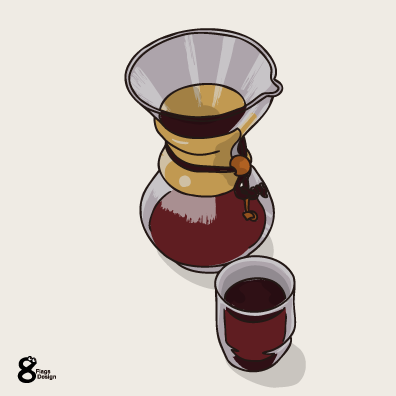 コーヒーメーカーとグラス(ウッド)のキャッチ画像