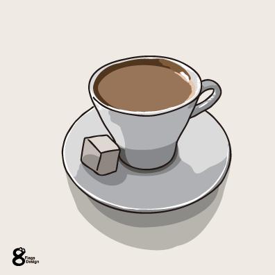 コーヒーと角砂糖(ホワイト)のキャッチ画像