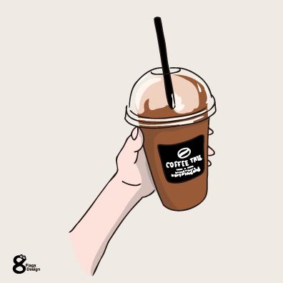 アイスコーヒーカップを持つ(ブラック)のキャッチ画像