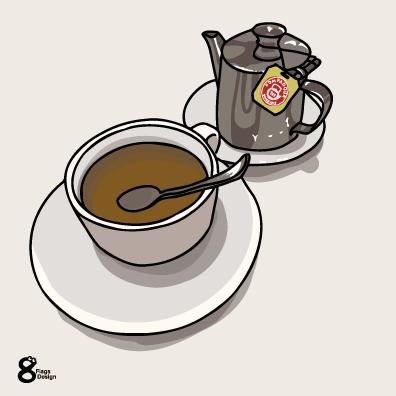 ティーバッグ&ティーポットとカップ(シルバー)のキャッチ画像