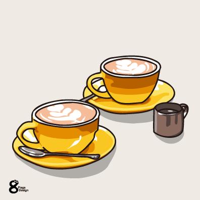 カフェラテカップ2個の画像