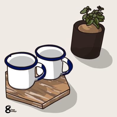 カップ2個と植木鉢(青)のキャッチ画像