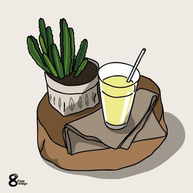 サボテンとジュース(レモン)のキャッチ画像