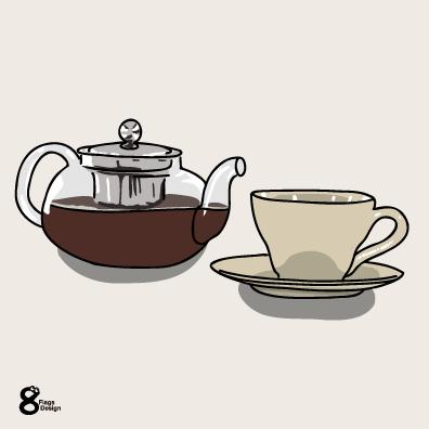 ティーポットとカップ(ベージュ)のキャッチ画像