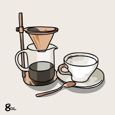 コーヒーメーカーとカップ(ホワイト)のキャッチ画像