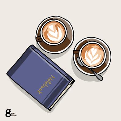 ノートとカフェラテ(ブルー)のキャッチ画像
