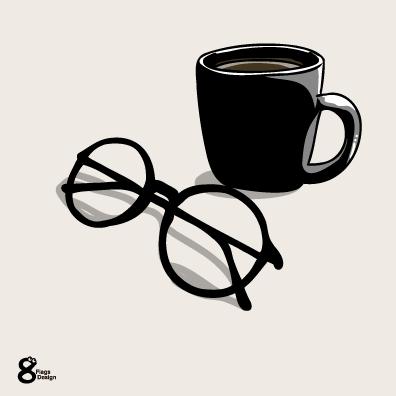メガネとコップ(ブラック)のキャッチ画像