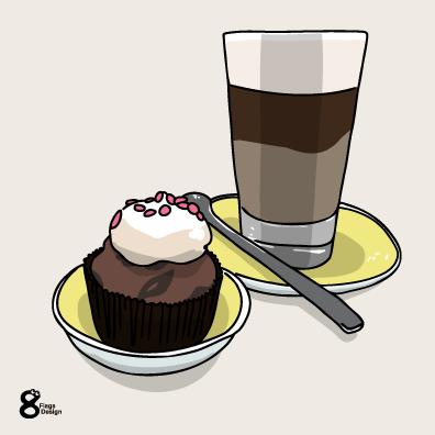 カップケーキとアイスコーヒー(チョコ)のキャッチ画像