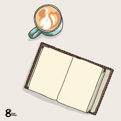 本とコーヒー(ブルー)のキャッチ画像