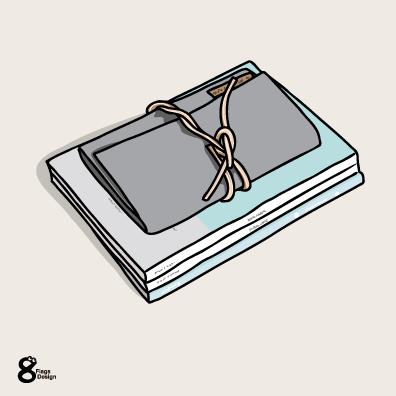 日記と筆記用具(アイスブルー)のキャッチ画像