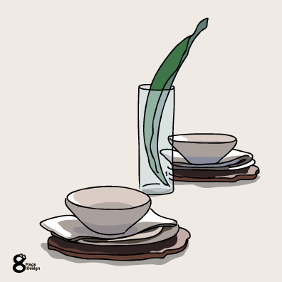 テーブルセットと観葉植物(ホワイト)のキャッチ画像
