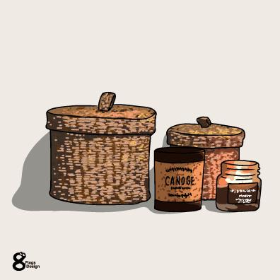 籐の小物入れ(こげ茶)のキャッチ画像