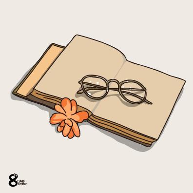 本とメガネ(オレンジ)のキャッチ画像