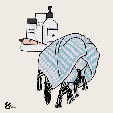 タオルと化粧品(ブルー)のキャッチ画像