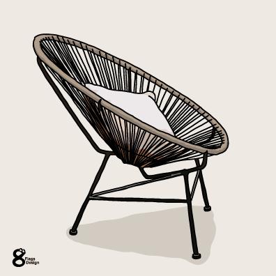 オシャレ3つ足の椅子のキャッチ画像
