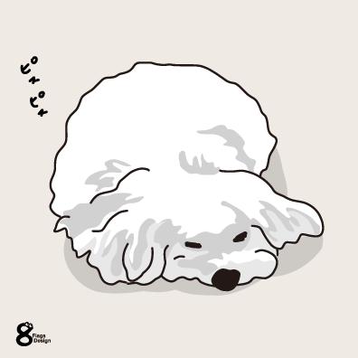 寝るムク犬(ホワイト)のキャッチ画像
