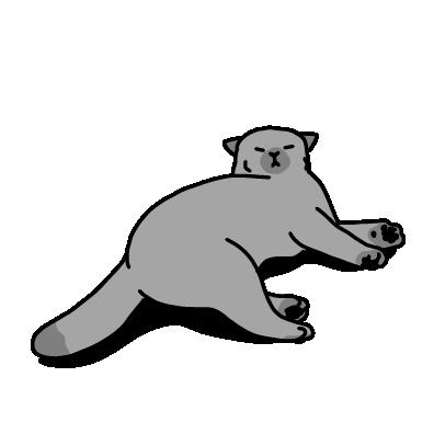 眠そうな猫(モノクロ)