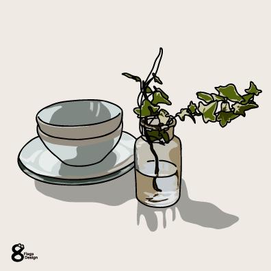 アイビーの花瓶とボウル(ブルー)のキャッチ画像