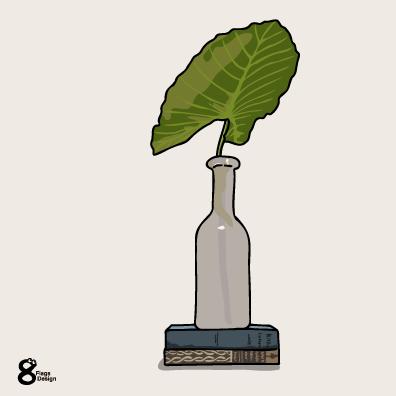 クワズイモの花瓶と本(ブルー)のキャッチ画像