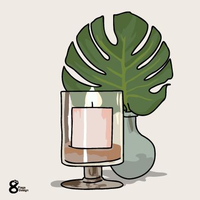 モンステラの花瓶とロウソク(ピンク)のキャッチ画像