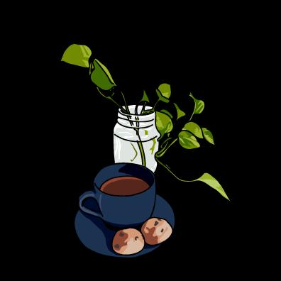 コーヒーとクッキーネイビー