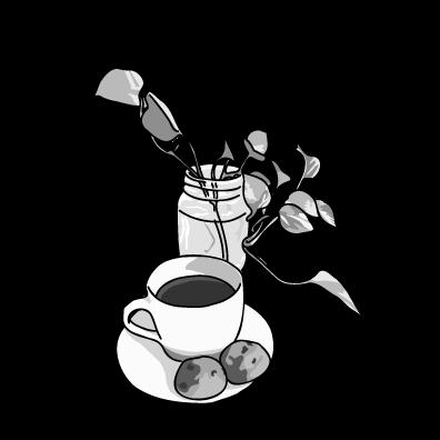 コーヒーとクッキーモノクロ