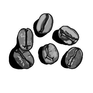 コーヒー豆モノクロ