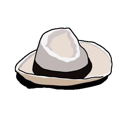 白い帽子ブラック