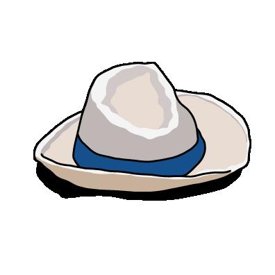 白い帽子青