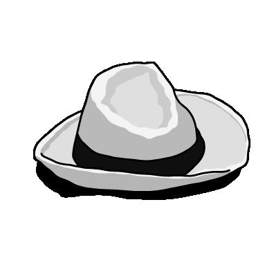 白い帽子モノクロ