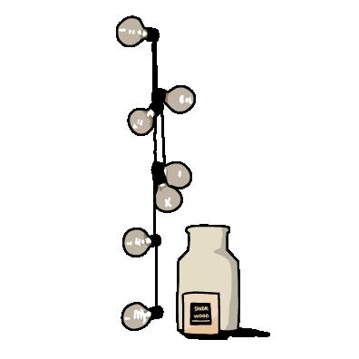 電球と瓶(アイボリー)