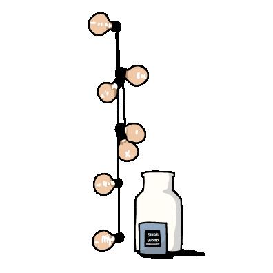 電球と瓶(ピンク)