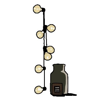 電球と瓶(ブラック)
