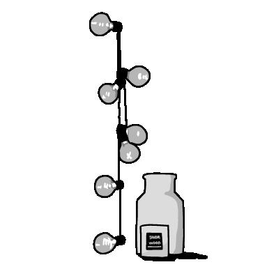電球と瓶(モノクロ)