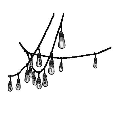 電飾のガートランドモノクロ