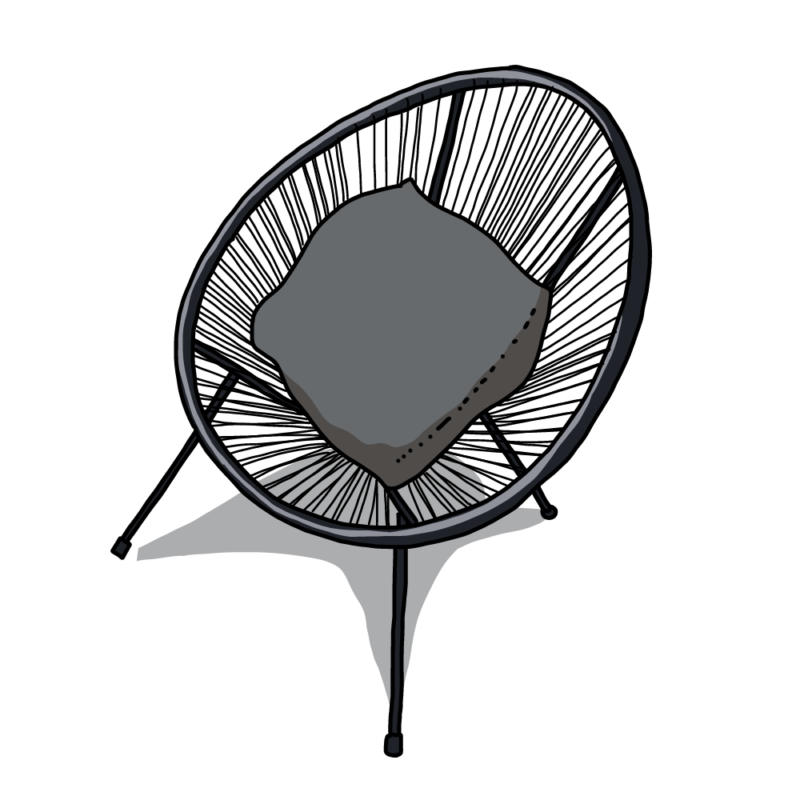 ネットの椅子グレー