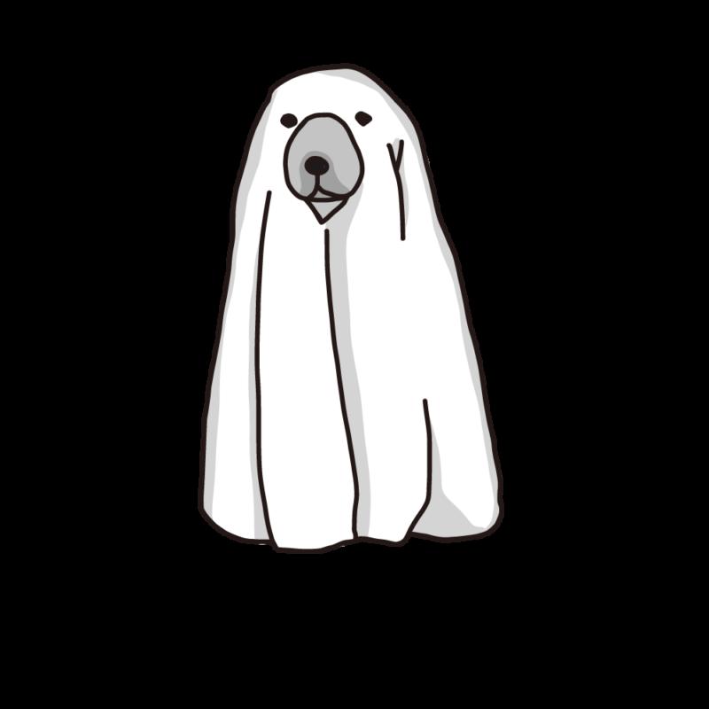 ハロウィンの犬(モノクロ)