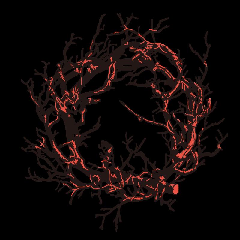 黒いリース(ハロウィン)赤