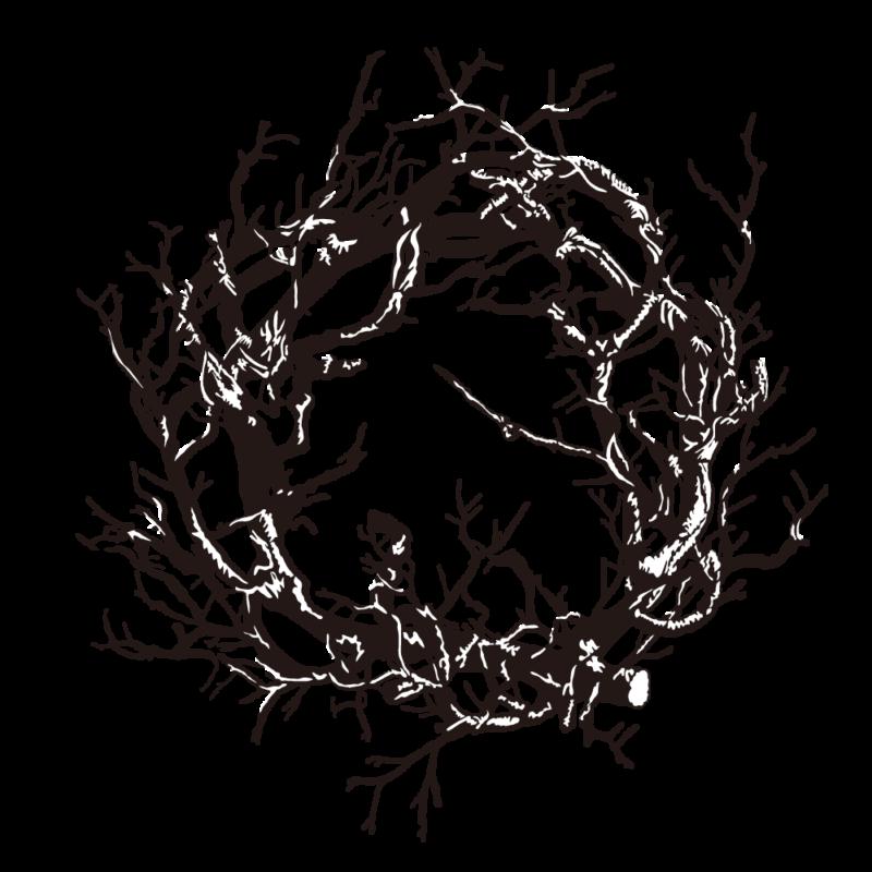 黒いリース(ハロウィン)モノクロ