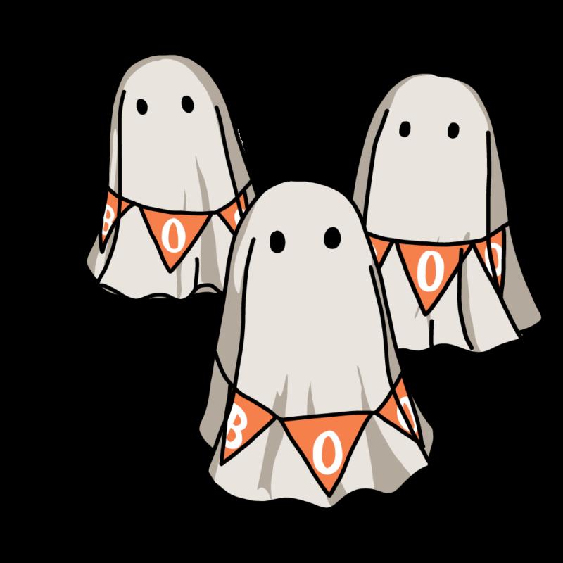 オバケ3匹(オレンジ)