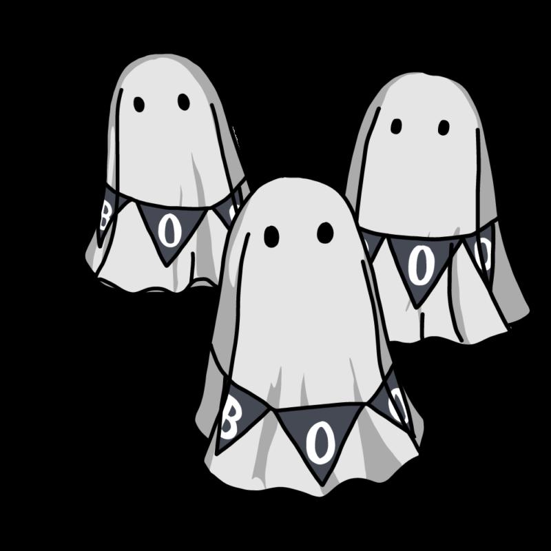 オバケ3匹(モノクロ)