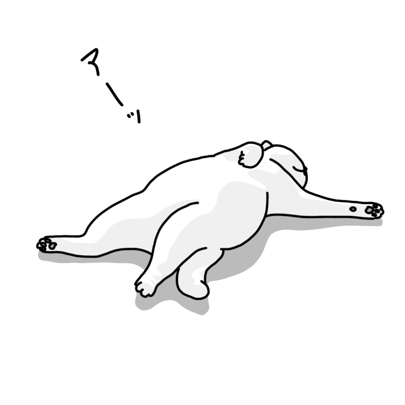 仰向けに寝るネコ(モノクロ)