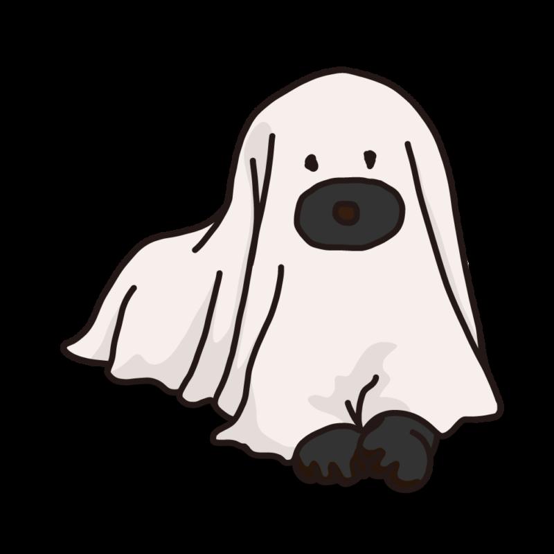 シーツを被った犬ブラック