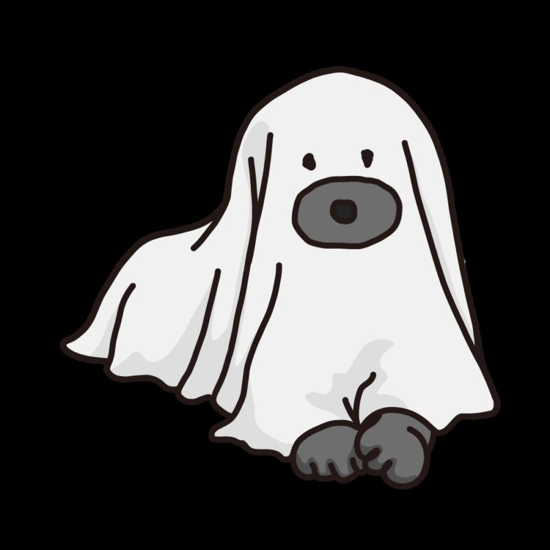 シーツを被った犬モノクロ