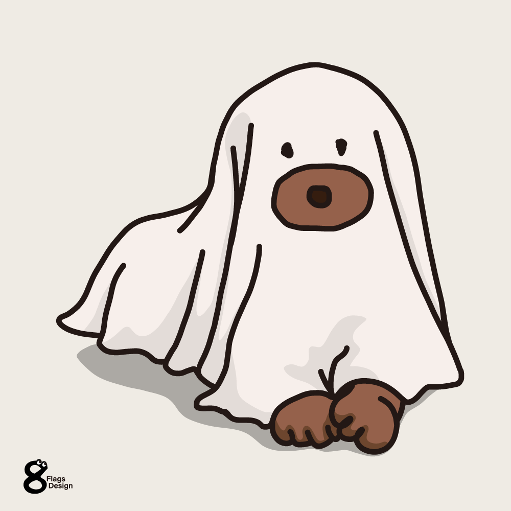 シーツを被った犬のキャッチ画像
