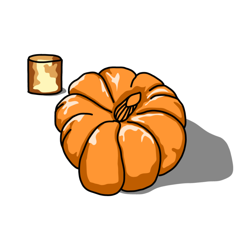 カボチャとキャンドルオレンジ